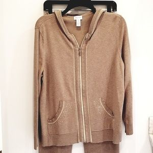 Chico's Zenergy set of tan knit jacket and pants L
